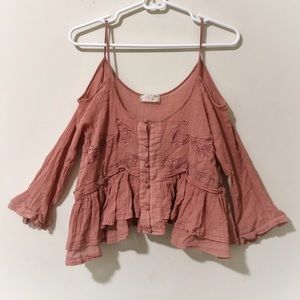 FREE PEOPLE Cold-Shoulder Embroidered Peasant Top